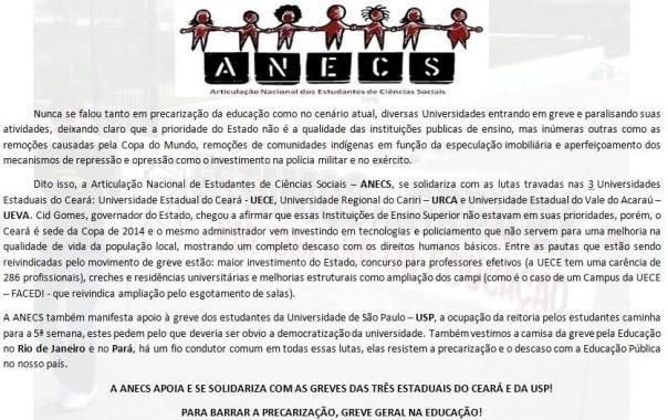 Todo apoio a luta pela educação das três estaduais do Ceará e da USP!